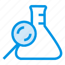lab, laboratory, magnifier, research icon
