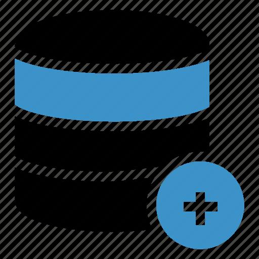 add, database, server, storage icon