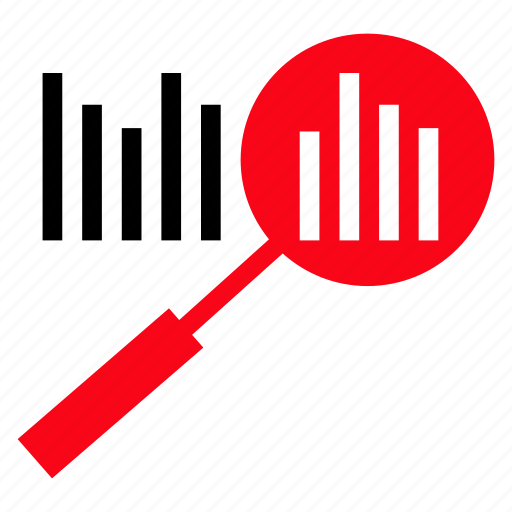 analytics, bargraph, find, magnifier, search icon