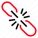 break, broken, brokenlink, link icon