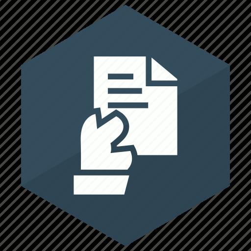 documen, file, hand, paper icon