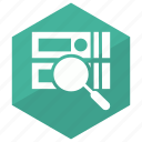 database, find, magnify, search icon