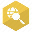 global, internet, magnifier, search icon