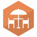 hotel, interior, service, umbrella icon