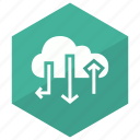 arrow, cloud, internet, network icon