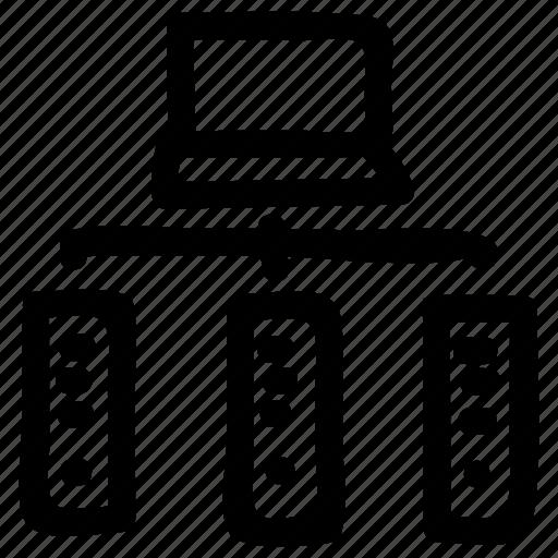 database, hosting, network, server, storage icon