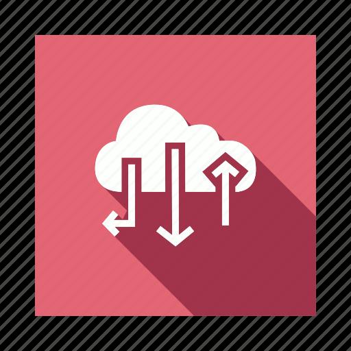 arrow, cloud, internet, network icon