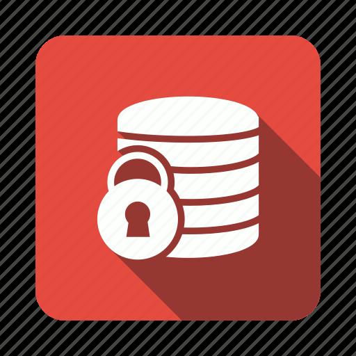 database, lock, security, server, storage icon