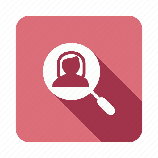 female, person, search, user icon
