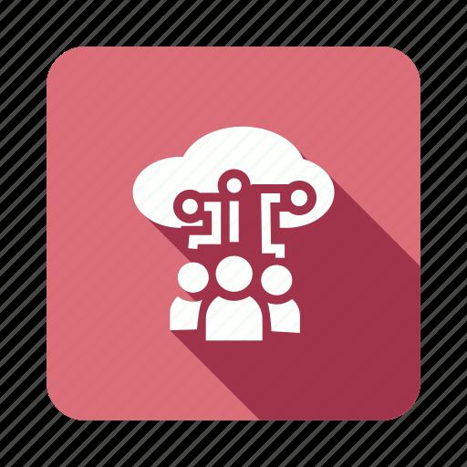 cloud, computing, people, users icon
