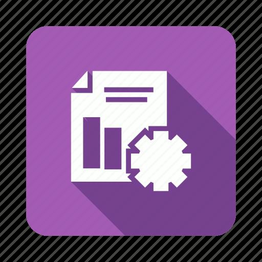 business, gear, graph, report icon