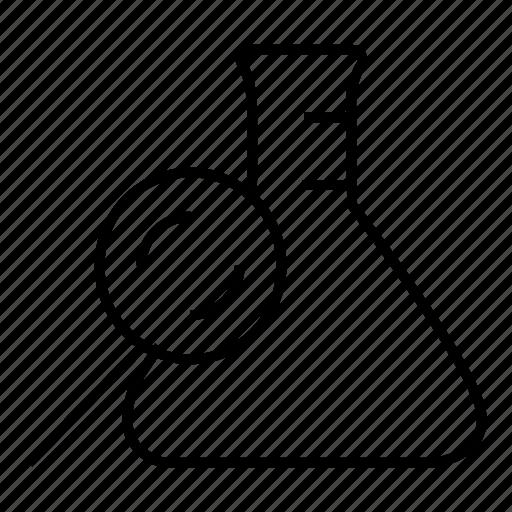 lab, laboratory, magnifier, research icon