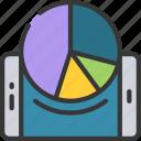 analytics, chart, data, mobile, pie icon