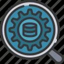analytics, data, process, search, settings icon