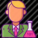 data, flask, laboratory, scientist