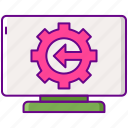 engineering, gear, monitor, reverse icon