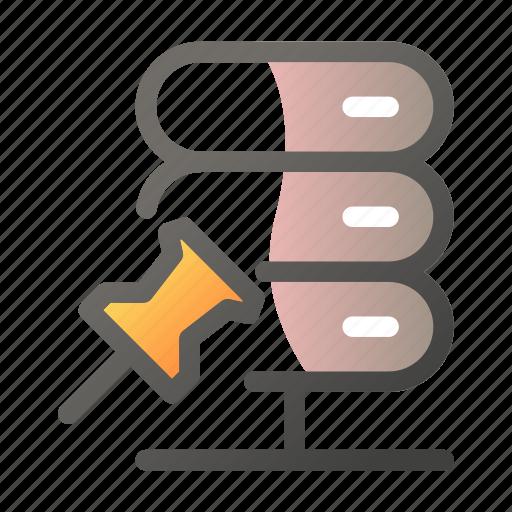 attach, data, network, pin, server icon