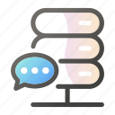 bubble, chat, data, network, server icon