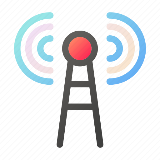 data, internet, network, signal, tower icon