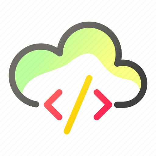 cloud, code, computing, data, network, script icon