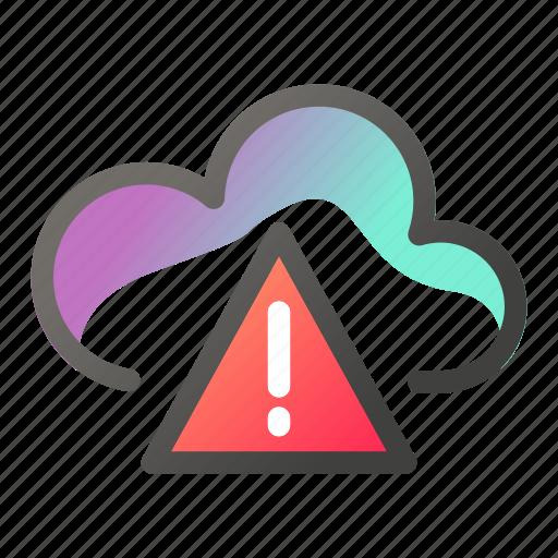 cloud, computing, data, network, storage, warning icon