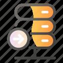 arrow, data, direction, network, right, server