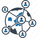 global connections, cyberspace, global network, global network diagram icon