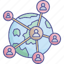 global network diagram, cyberspace, global connections, global network icon