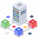 data hosting network, database connection, database network, datacenter, server network icon