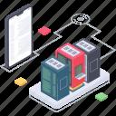 data server connection, database hosting app, database server, database storage, server hosting icon