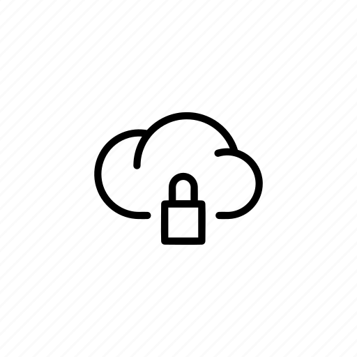 cloud, clouds, data, padlock, security, sync icon