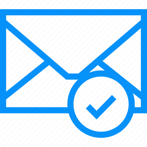 Blue, checked, conversation, envelope, mail, round, sms icon - Download on Iconfinder