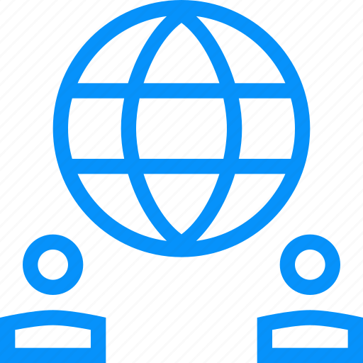blue, chat, connections, dialog, globe, network, planet, web icon