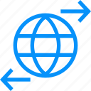 arrows, blue, connections, globe, network, planet, web, worldwide icon