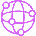 connections, globe, international, links, network, purple, telecommunications icon