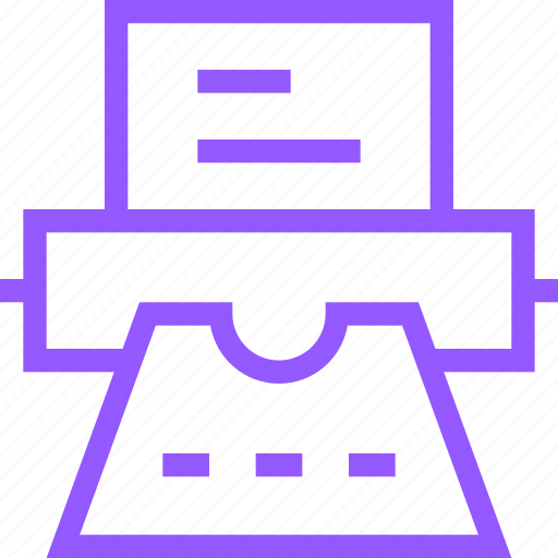 device, document, office, paper, printer, printing, purple, type icon