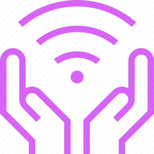 Connections, hands, network, protected, purple, wave, wifi icon - Download on Iconfinder