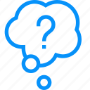 blue, bubble, cloud, conversation, mark, question, thought icon