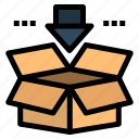 arrow, box, download, save icon