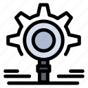 gear, research, search, setting icon