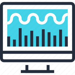 analytics, chart, computer, data, monitoring, processing, system icon