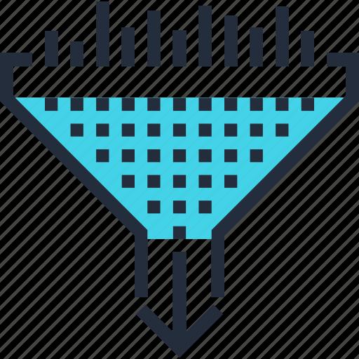 cone, conversion, data, filter, funnel, optimization, traffic icon