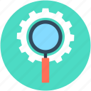magnifier, magnifying lens, optimization, search engine, search settings icon