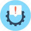 cog, cogwheel, dashboard warning, exclamation, powertrain warning icon