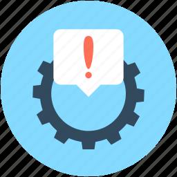 cog, cogwheel, dashboard warning, exclamation, powertrain warning icon