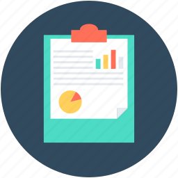 analytics, clipboard, graph, graph report, stock report icon