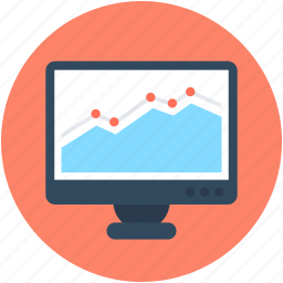 graph, monitor screen, online graph, online presentation, statistics icon