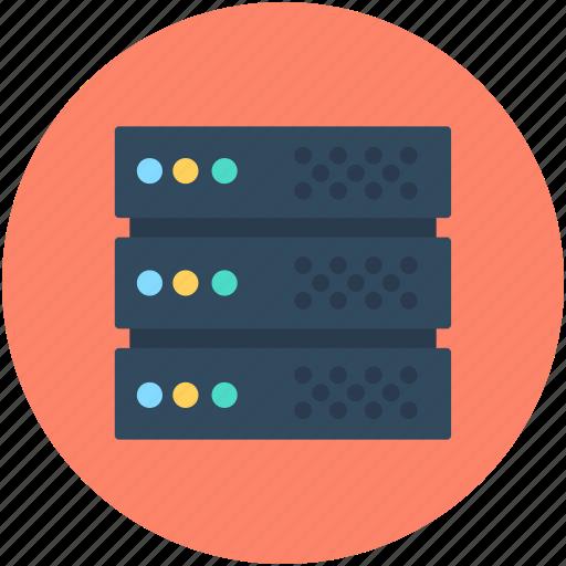 database, network server, server, server rack, web hosting icon