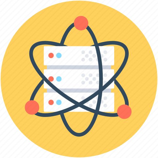 atom, database, electron, network server, science icon