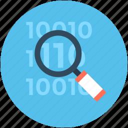 barcode, binary, binary code, data searching, search binary icon
